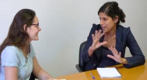 Una conversación en una sesión de coaching de inglés